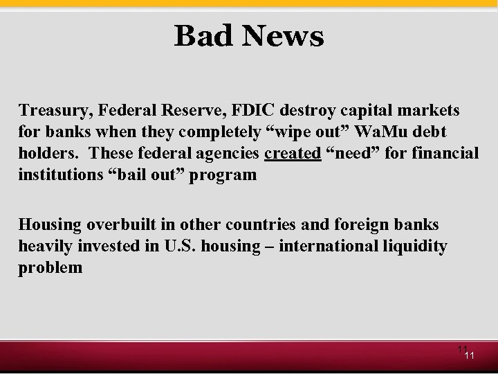 Bad News Treasury, Federal Reserve, FDIC destroy capital markets for banks when they completely