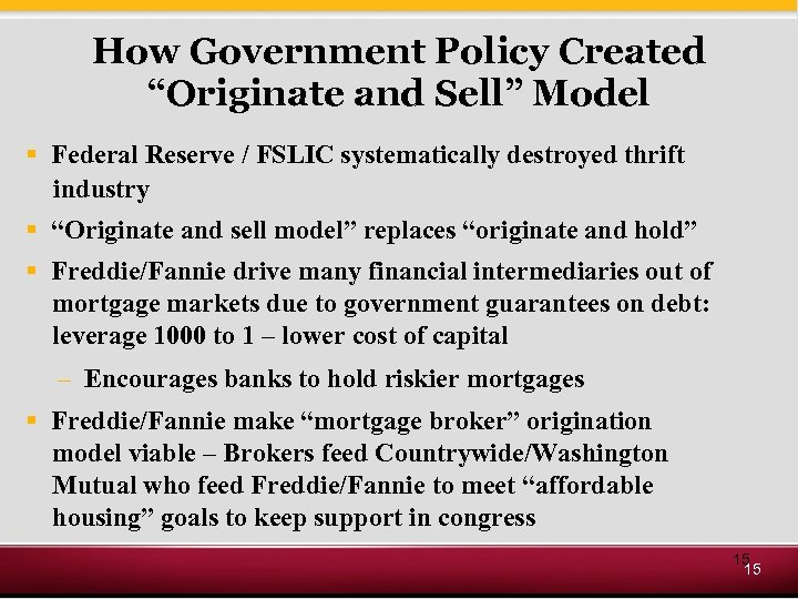"How Government Policy Created ""Originate and Sell"" Model § Federal Reserve / FSLIC systematically"