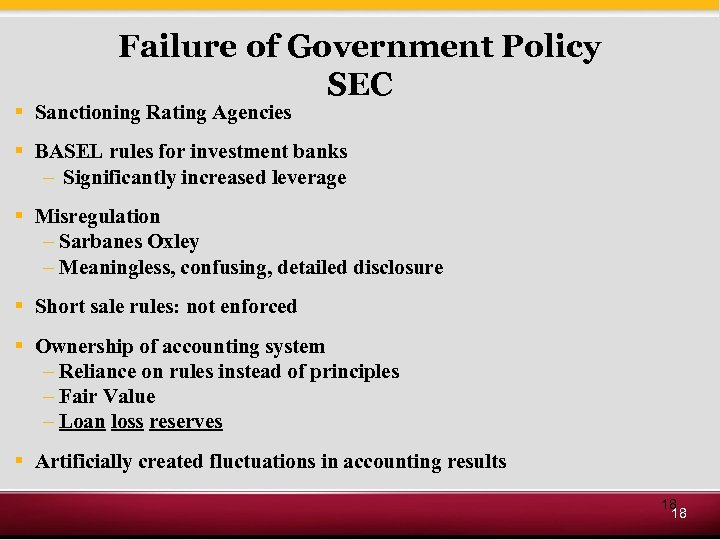 Failure of Government Policy SEC § Sanctioning Rating Agencies § BASEL rules for investment