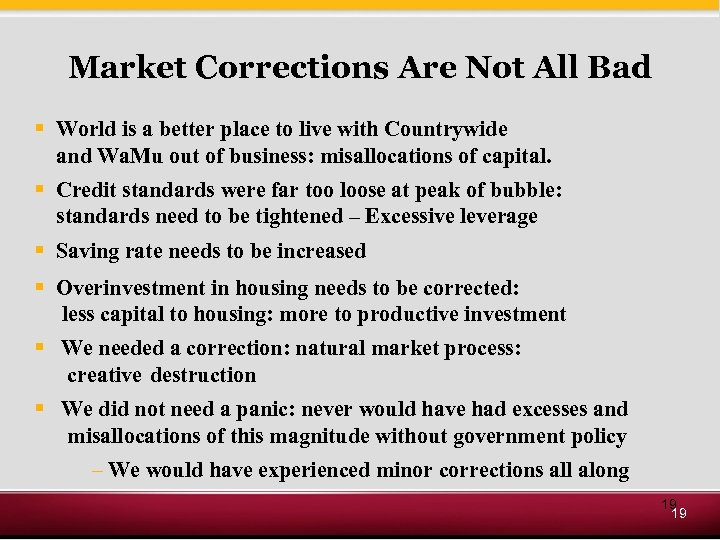 Market Corrections Are Not All Bad § World is a better place to live