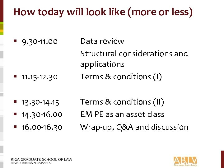 How today will look like (more or less) § 9. 30 -11. 00 §