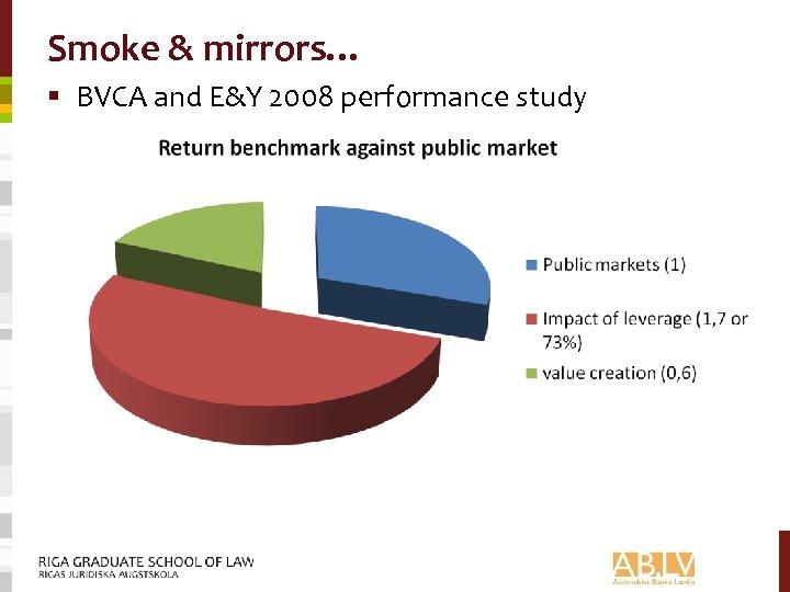 Smoke & mirrors… § BVCA and E&Y 2008 performance study