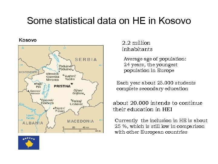 Some statistical data on HE in Kosovo 2. 2 million inhabitants Average of population: