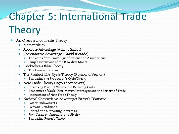 Chapter 5: International Trade Theory An Overview of Trade Theory Mercantilism Absolute Advantage (Adams