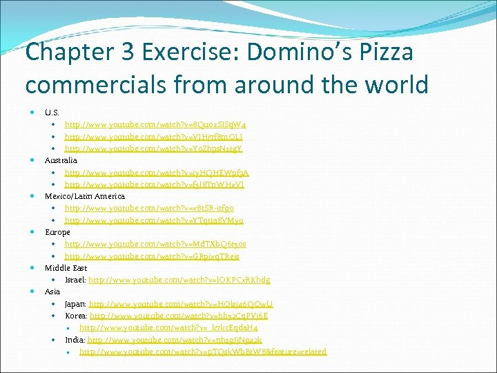 Chapter 3 Exercise: Domino's Pizza commercials from around the world U. S. http: //www.
