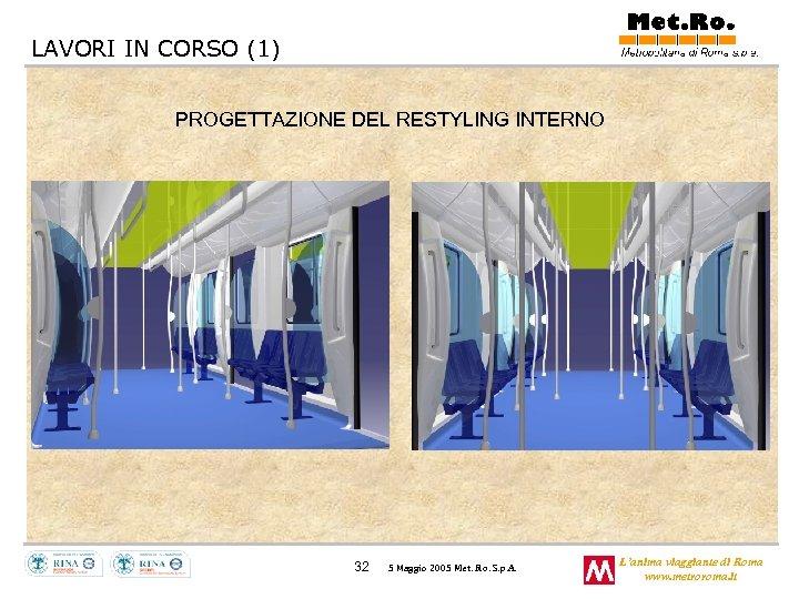 LAVORI IN CORSO (1) PROGETTAZIONE DEL RESTYLING INTERNO 32 5 Maggio 2005 Met. Ro.