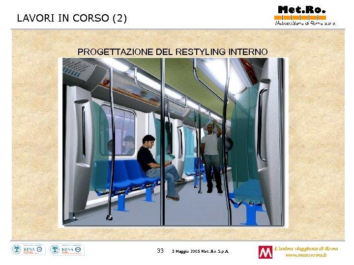 LAVORI IN CORSO (2) PROGETTAZIONE DEL RESTYLING INTERNO 33 5 Maggio 2005 Met. Ro.