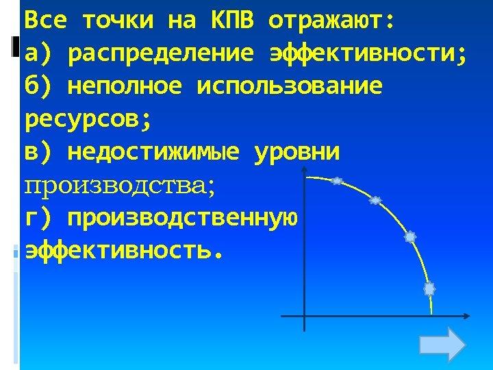 Все точки на КПВ отражают: а) распределение эффективности; б) неполное использование ресурсов; в) недостижимые
