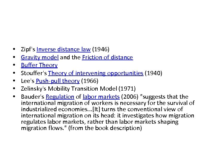 • • Zipf's Inverse distance law (1946) Gravity model and the Friction of