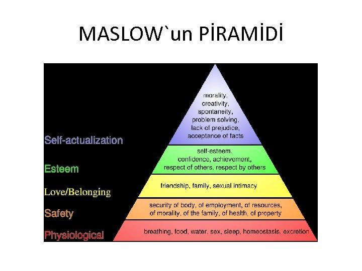MASLOW`un PİRAMİDİ