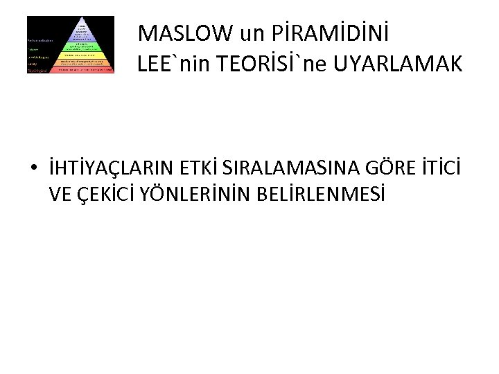 MASLOW un PİRAMİDİNİ L LEE`nin TEORİSİ`ne UYARLAMAK • İHTİYAÇLARIN ETKİ SIRALAMASINA GÖRE İTİCİ