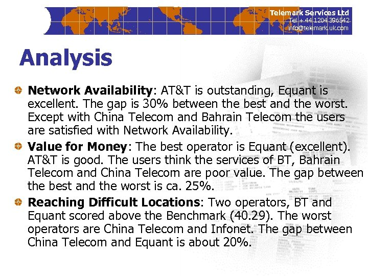 Telemark Services Ltd Tel + 44 1204 396542 info@telemark. uk. com Analysis Network Availability: