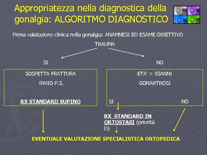 Appropriatezza nella diagnostica della gonalgia: ALGORITMO DIAGNOSTICO Prima valutazione clinica nella gonalgia: ANAMNESI ED