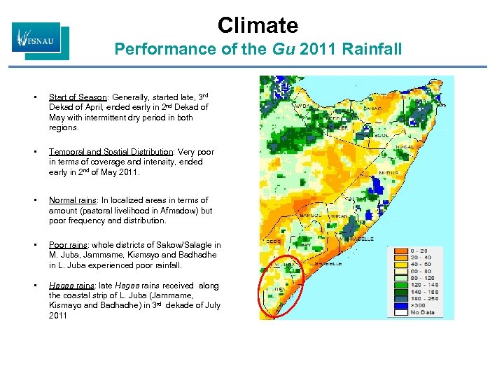 Climate Performance of the Gu 2011 Rainfall • Start of Season: Generally, started late,