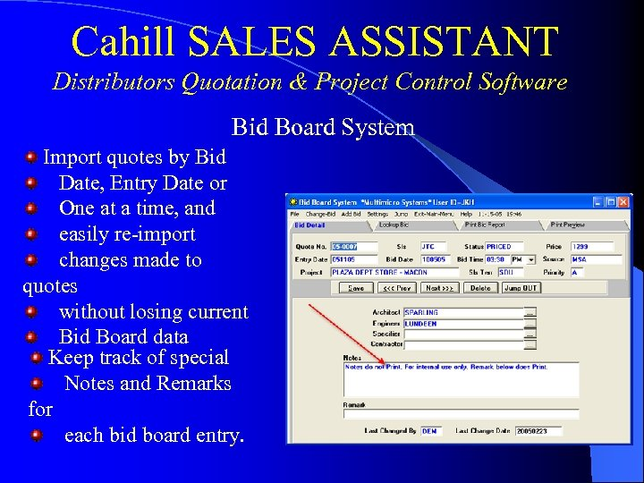 Cahill SALES ASSISTANT Distributors Quotation & Project Control Software Bid Board System Import quotes