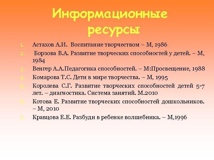 Информационные ресурсы 1. 2. 3. 4. 5. 6. 7. Астахов А. И. Воспитание творчеством