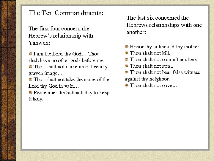 The Ten Commandments: The first four concern the Hebrew's relationship with Yahweh: I am