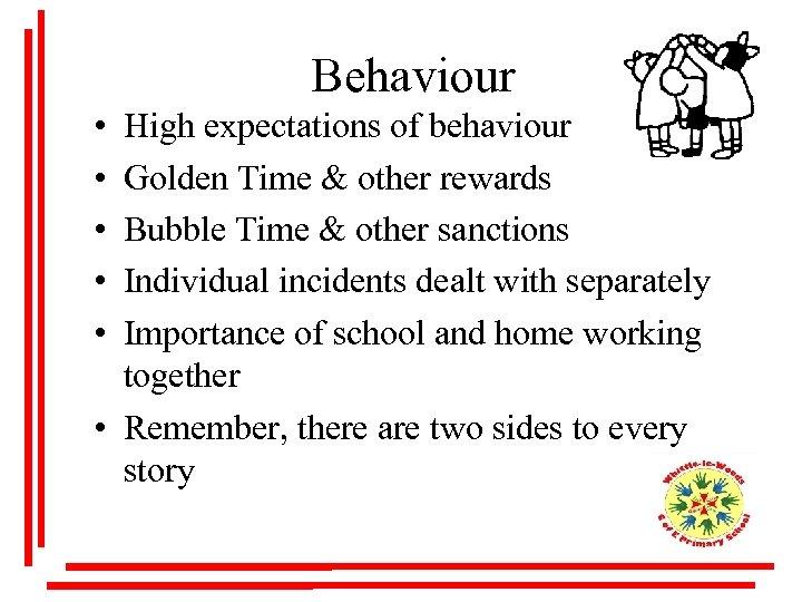 Behaviour • • • High expectations of behaviour Golden Time & other rewards Bubble