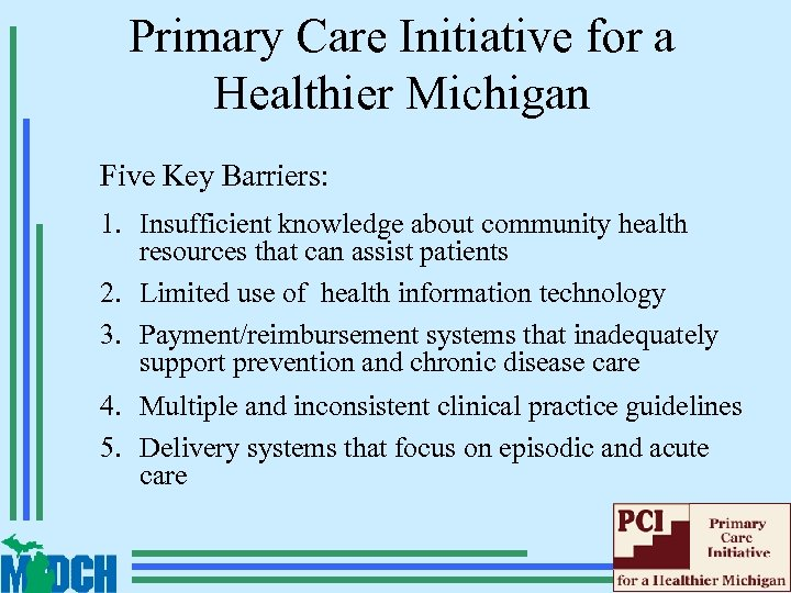 Primary Care Initiative for a Healthier Michigan Five Key Barriers: 1. Insufficient knowledge about