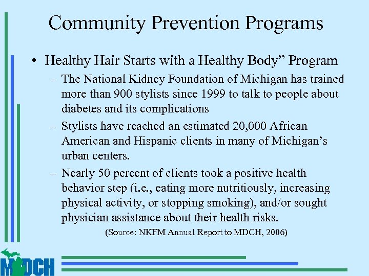 """Community Prevention Programs • Healthy Hair Starts with a Healthy Body"""" Program – The"""