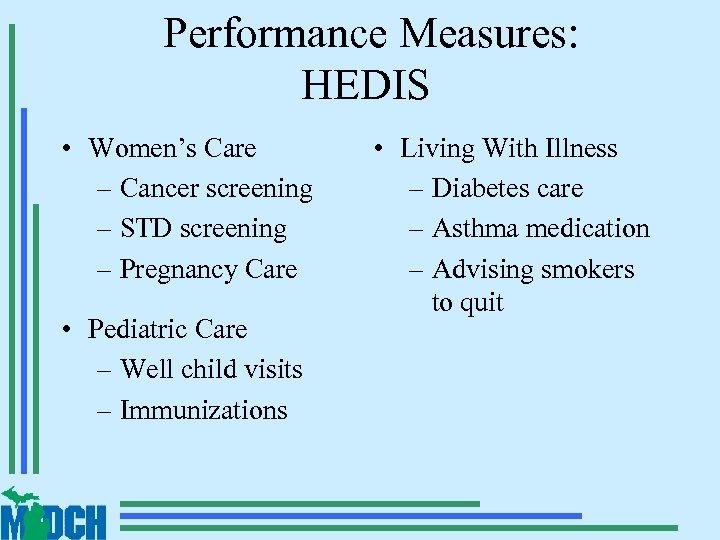 Performance Measures: HEDIS • Women's Care – Cancer screening – STD screening – Pregnancy