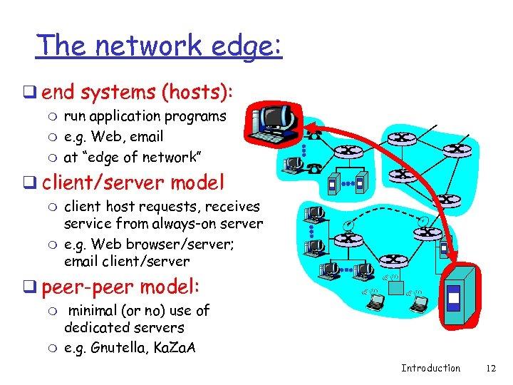 The network edge: q end systems (hosts): m m m run application programs e.