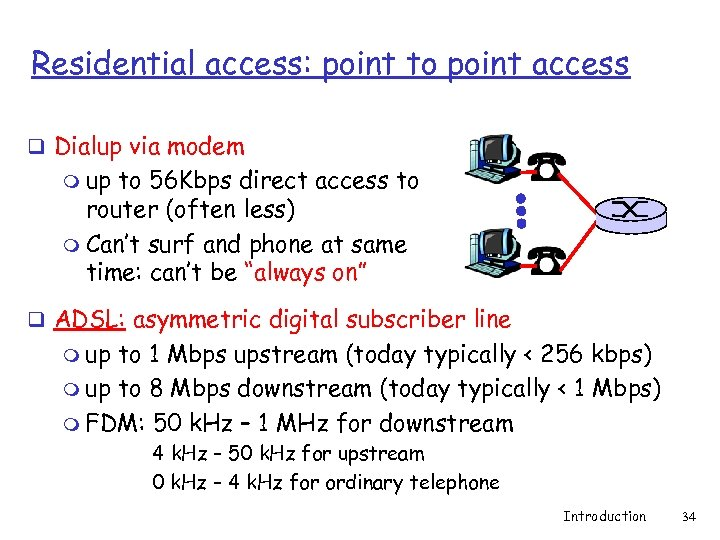 Residential access: point to point access q Dialup via modem m up to 56