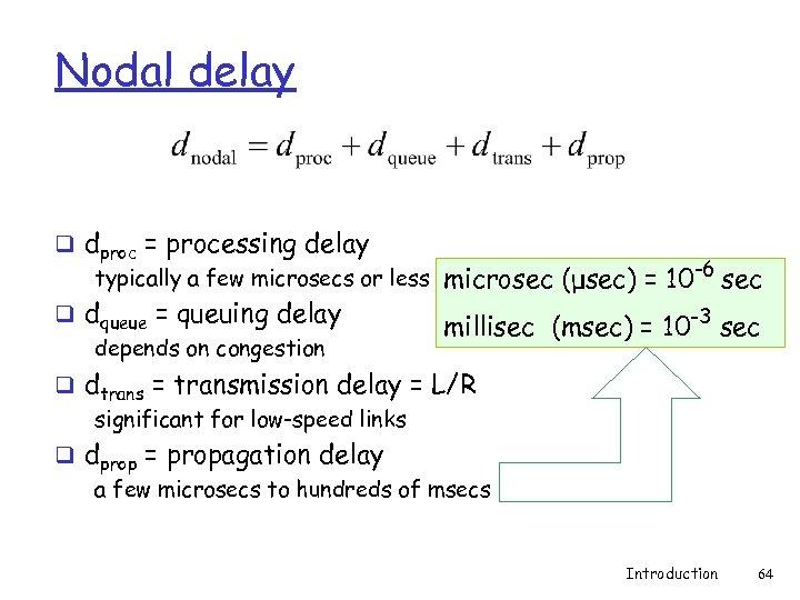 Nodal delay q dproc = processing delay typically a few microsecs or less microsec