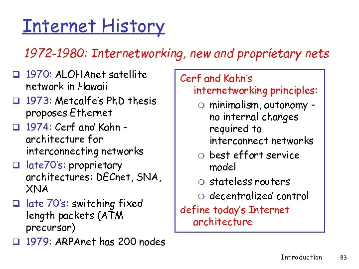 Internet History 1972 -1980: Internetworking, new and proprietary nets q 1970: ALOHAnet satellite q