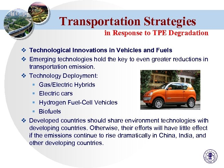Transportation Strategies in Response to TPE Degradation v Technological Innovations in Vehicles and Fuels