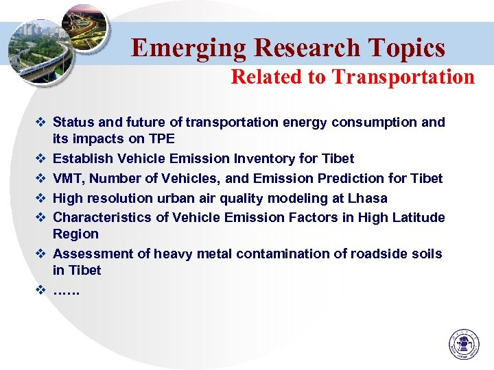 Emerging Research Topics Related to Transportation v Status and future of transportation energy consumption
