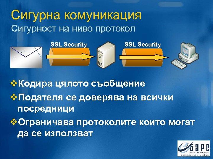 Сигурна комуникация Сигурност на ниво протокол SSL Security v. Кодира цялото съобщение v. Подателя