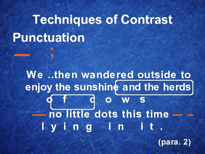 Techniques of Contrast Punctuation — ; We … then wandered outside to enjoy the