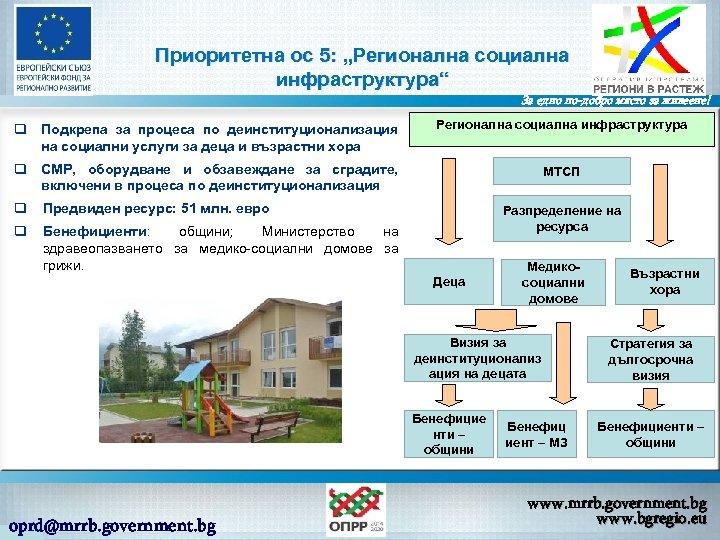 """Приоритетна ос 5: """"Регионална социална инфраструктура"""" За едно по-добро място за живеене! q Подкрепа"""