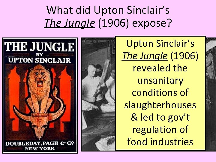 What did Upton Sinclair's The Jungle (1906) expose? Upton Sinclair's The Jungle (1906) revealed