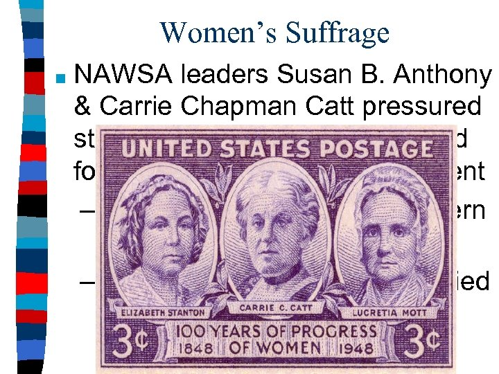 Women's Suffrage ■ NAWSA leaders Susan B. Anthony & Carrie Chapman Catt pressured states