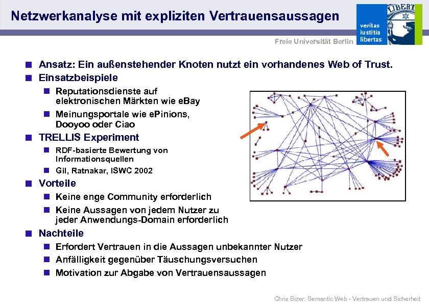 Netzwerkanalyse mit expliziten Vertrauensaussagen Freie Universität Berlin < Ansatz: Ein außenstehender Knoten nutzt ein