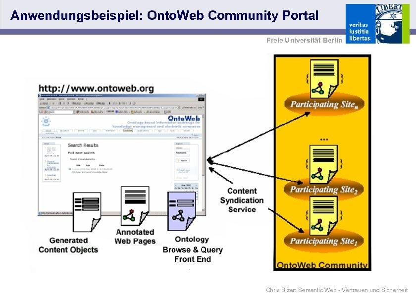 Anwendungsbeispiel: Onto. Web Community Portal Freie Universität Berlin Chris Bizer: Semantic Web - Vertrauen
