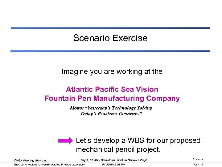 Scenario Exercise Imagine you are working at the Atlantic Pacific Sea Vision Fountain Pen