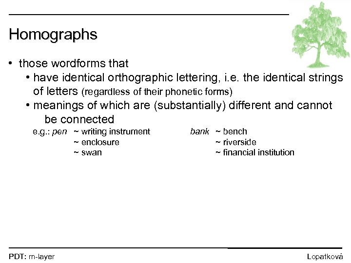 Homographs • those wordforms that • have identical orthographic lettering, i. e. the identical