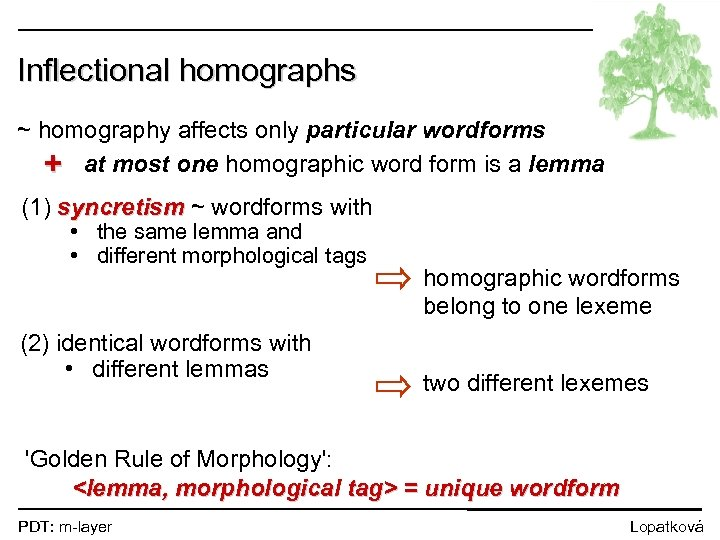 Inflectional homographs ~ homography affects only particular wordforms + at most one homographic word