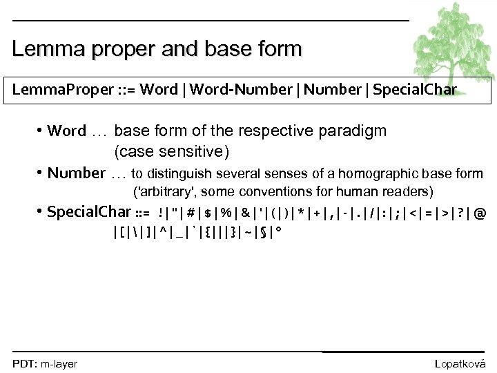 Lemma proper and base form Lemma. Proper : : = Word | Word-Number |