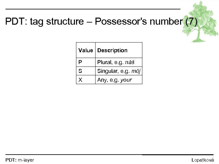 PDT: tag structure – Possessor's number (7) Value Description P S Singular, e. g.