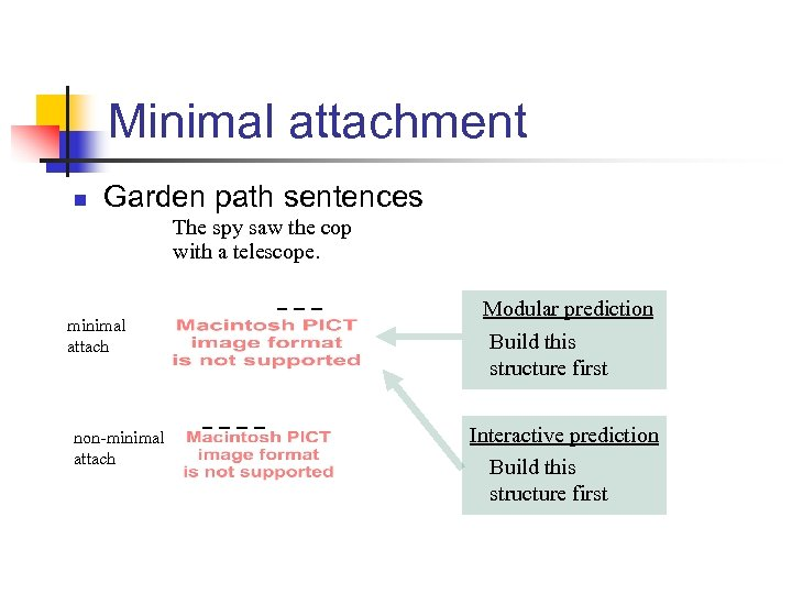 Minimal attachment n Garden path sentences The spy saw the cop with a telescope.