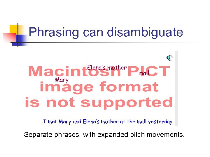 Phrasing can disambiguate Elena's mother Mary mall I met Mary and Elena's mother at