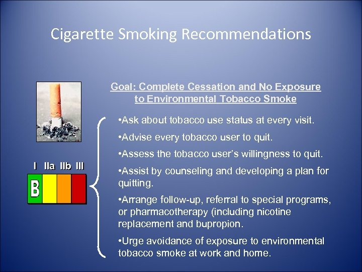 Cigarette Smoking Recommendations Goal: Complete Cessation and No Exposure to Environmental Tobacco Smoke •