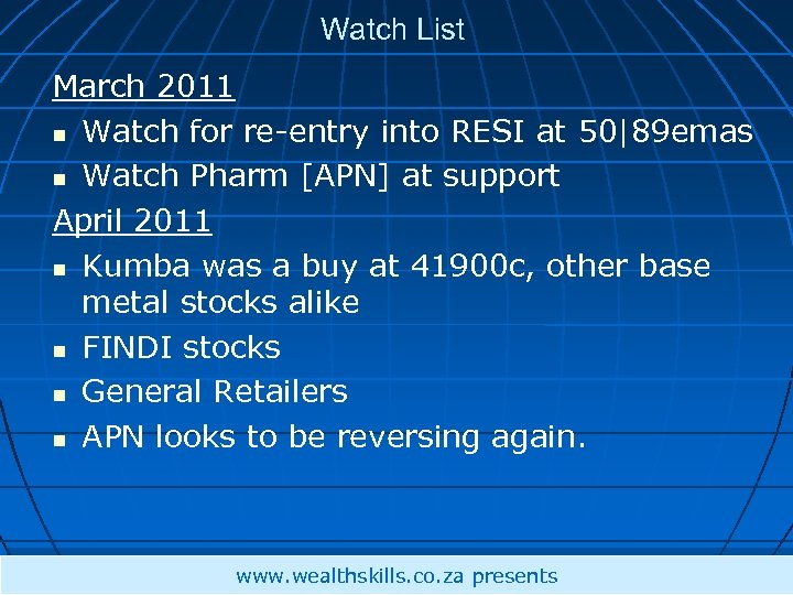 Watch List March 2011 Watch for re-entry into RESI at 50|89 emas Watch Pharm