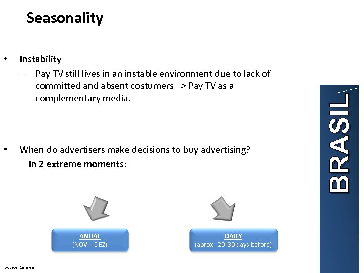 Instability – Pay TV still lives in an instable environment due to lack of