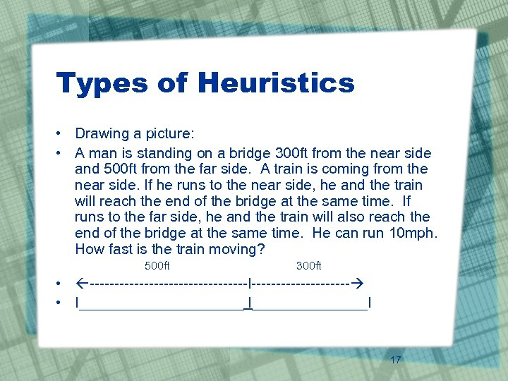 Types of Heuristics • Drawing a picture: • A man is standing on a