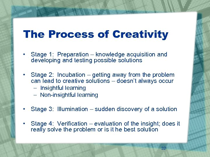The Process of Creativity • Stage 1: Preparation – knowledge acquisition and developing and